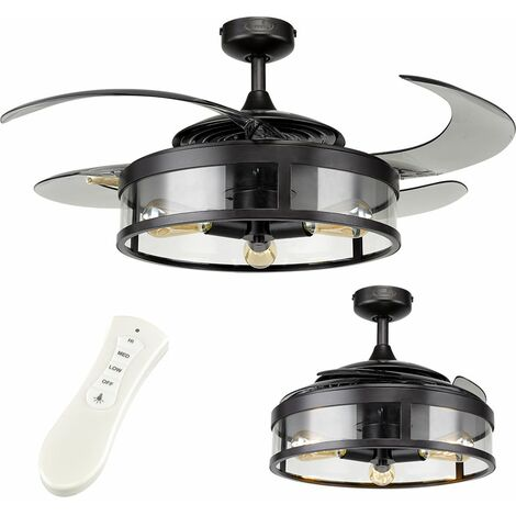 """48"""" 121cm Fanaway Industrial & Smoke Retractable Blade Dimmable LED Ceiling Fan - Remote Control Included"""