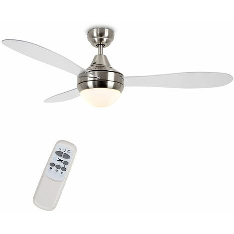 "48"" 122Cm Brushed Chrome & Clear Blade Ceiling Fan + Frosted Shade & Remote Control + 4W LED Bulbs - Warm White"