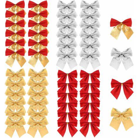 48 Pièces Noeud de Ruban de Noël Ornements Arbre de Noël Bowknot Décoration Cadeaux de Noël Présente Emballage Fournitures Artisanales (4 Couleurs)