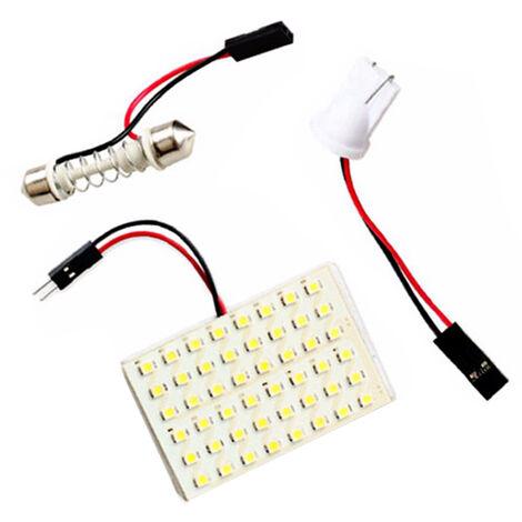 48 Smd 3528 48 Led Panneau Blanc Voiture Lecture Carte Lampe Auto Dome Interieur Ampoule Toit Lumiere Avec Adaptateur T10