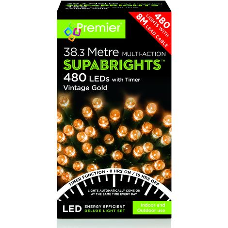 480 Multi Action LED Supabrights with Timer - Vintage Gold
