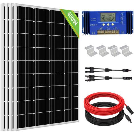 480W 24V Off Grid solar panel kit 4x 120W panel W/ 20A Controller & Brackets
