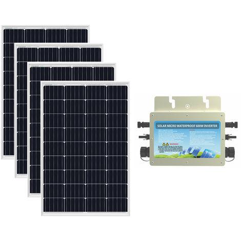 480W Solar Panel Grid Tie System 4x 120W Panel + Waterproof 230V Inverter Home