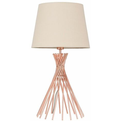 48Cm Copper Metal Twist Table Lamp + Beige Light Shade - 4W LED Golfball Bulb Warm White