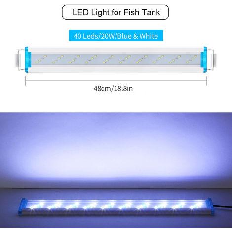 48cm luz del acuario del LED / 18.9in Fish Tank luz LED extensible 5.12in Soportes blanco rojo para tanques de agua dulce plantados, Negro ,, XL