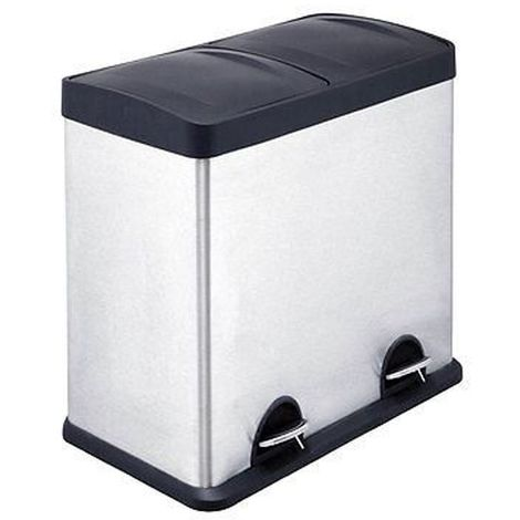 48Ltr Recycle Pedal Bin,Stainless Steel/2 Compartment,Inner Plastic Buckets