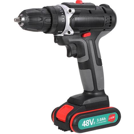 """48V 520N.m.Taladro / destornillador eléctrico cepillado inalámbrico de alto torque de 3/8 """", luz de trabajo LED variable de 2 velocidades con 1 batería (enchufe de la UE)"""
