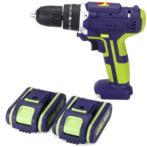 48V Cordless Drill Driver 2x battery - 50Nm 2 Speeds 25 + 1 LED Couple Hasaki