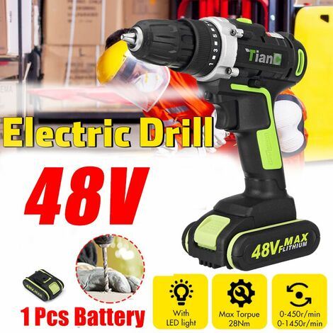 48V Electric Drill Rechargeable Cordless Drill for Woodworking (Green, with 2 Batteries)