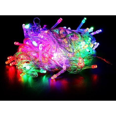 499296 Tira led de 180 guirnaldas efecto multicolor (cable transparente)