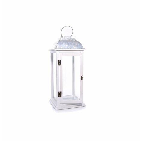49CM Linterna Candelabro Windlestick Windlights madera sólida blanca