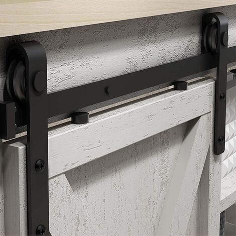 4.9ft Antique Sliding Door Barn Pulley Door 1.5m Hardware Kit Sliding Track Black Steel Slide Track Rail Door for Flat Sliding Panel Wood Door Closet Cabinet