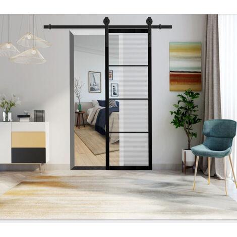 4.9ft Vintage Sliding Door Hardware Kit Sliding Track Black Barn Pulley Door Steel Slide Track Rail Door for Flat Sliding Panel Wood Door Closet Cabinet 1.5m
