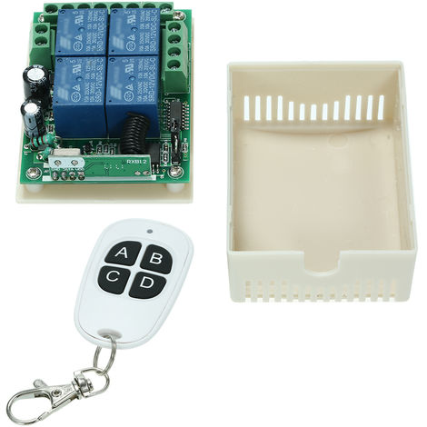 4CH Universal Relay Wireless RF Remote Control Switch AK-RK04-12-B+AK-BYD-4*1