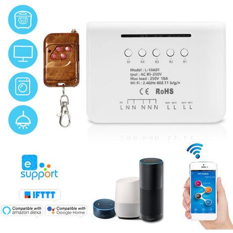4CH WIFI modulo de conmutador, RF 433MHz 4 Gang, Wireless Smart Switch