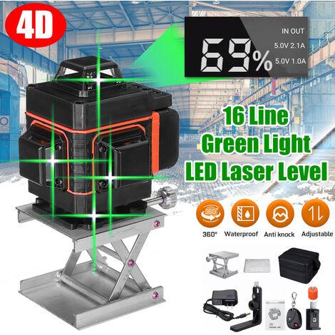 4D Lumière Verte Niveau Laser 360°12 Ligne Outil De Mesure De Nivellement Automatique Croisé