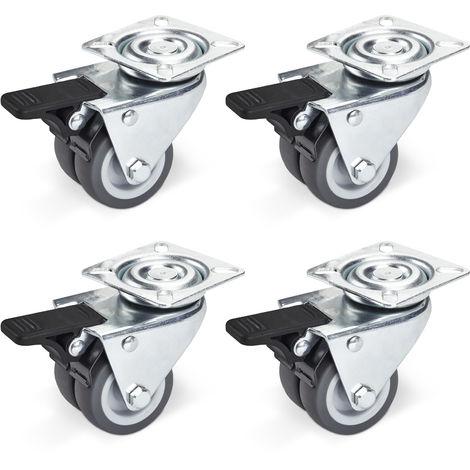 4er Set Doppel-Lenkrolle Ø 50 mm mit Bremse