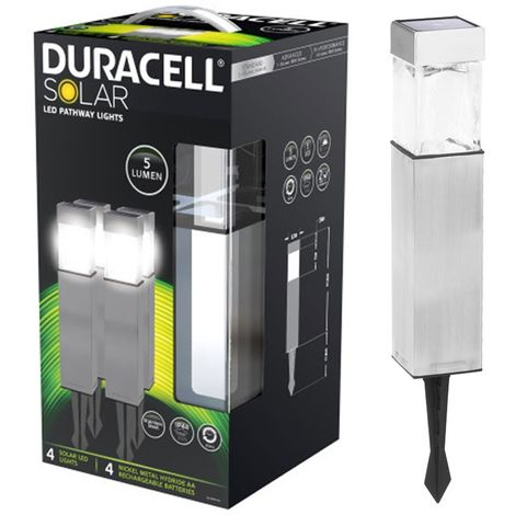 DURACELL LED Solare Lampada da giardino gl004np4du 5 lumen 4er-PACK ARGENTO