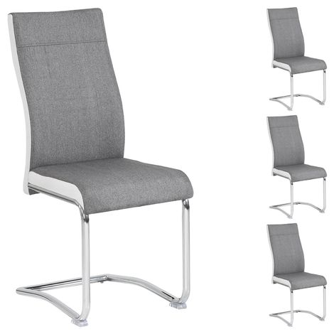 4er Set Esszimmerstuhl Schwingstuhl ALBA Stoffbezug grau-weiß
