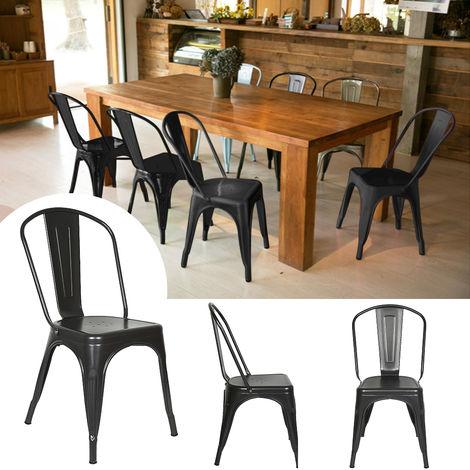 4er Set Esszimmerstuhl,Bistrostuhl aus Metall,Barhocker stapelbar Industrie Design schwarz
