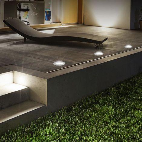 4er Set Grafner® Solar LED Bodenstrahler rund Bodenleuchte Einbaustrahler