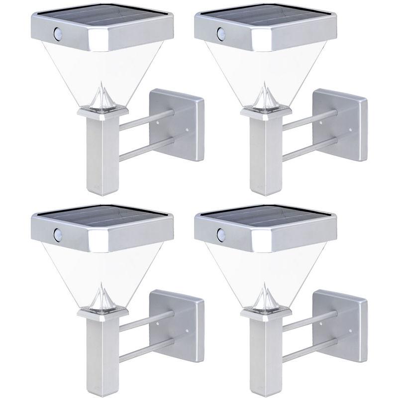 4x LED Außen Bereich Solar Wand Lampen SENSOR Veranda Leuchten Hof ALU Strahler - ETC-SHOP