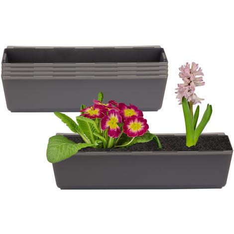 4er Set Pflanzkasten inkl. Aufhänger für Europalette - Blumenkübel in Anthrazit - LxBxH ca. 37 x 13,5 x 9,5 cm - Ideal zum Hängen & Stellen - Robust & wetterfest -
