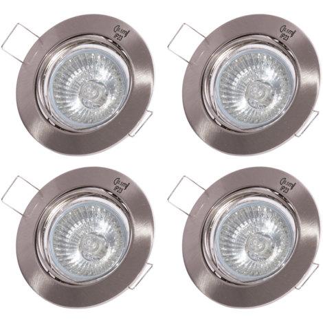 4er Set RGB LED Einbaustrahler in silber mit Fernbedienung