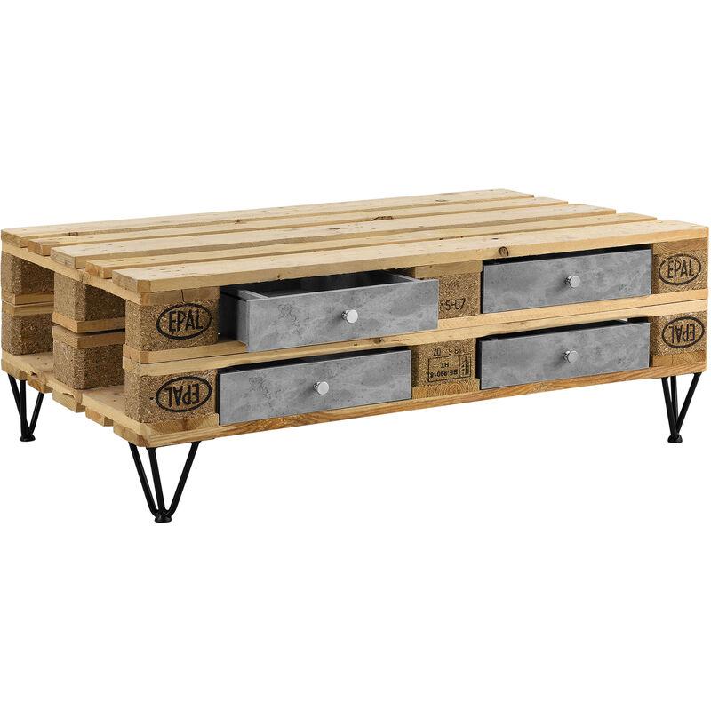 4er Set Schubladen für Europaletten in Beton-Optik Perfekt Integrierbar mit  Führungsschienen und Befestigung Palettenmöbel