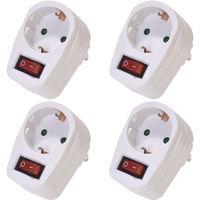 4er Set Steckdosenschalter/Steckdose mit beleuchtetem Schalter TÜV Süd geprüft schaltbare Steckdose Adapter