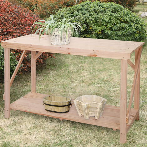 4ft Wood Potting Table Garden Flower Plant Workbench