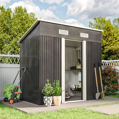 4ft x 6ft Metal Garden Shed Pent Roof Storage Tools House with FREE Base Foundation