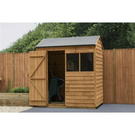 4ft x 6ft Reverse Apex Overlap Dip Treated Shed (1.3m x 1.8m) - Modular - CORE