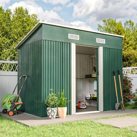 4ft x 8ft Metal Garden Shed Outdoor Tool shed - Green
