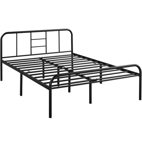4ft6 Black Iron Double Bed Frame Platform Bed with High Headboard, Strong Metal-Framed Bed with Storage