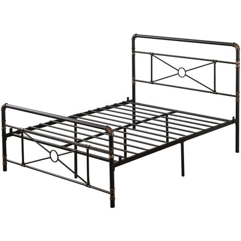 """main image of """"4ft6 Double Metal Bed Frame, Solid Bedstead Base with Metal Slat Support, Headboard and Footboard (Black & Brushed Gold)"""""""