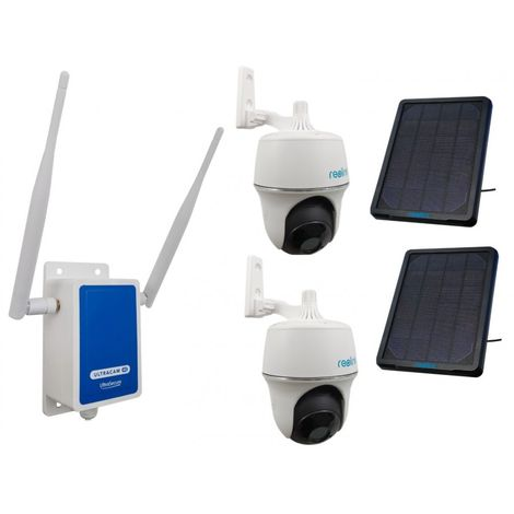 4G Wireless UltraCAM with 2 x Outdoor Battery Pan & Tilt Wifi Cameras with Solar Panels