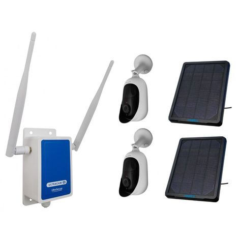 4G Wireless UltraCAM with 2 x Outdoor Battery Wifi Cameras with Solar Panels