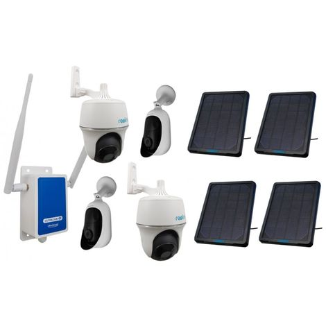 4G Wireless UltraCAM with 4 x Outdoor Battery Wifi Cameras (Reolink Argus + PT) & Solar Panels