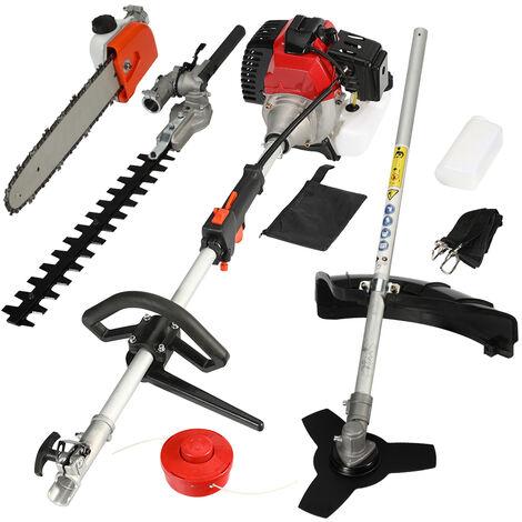 4in1 Cortasetos de gasolina 52cc multiherramienta jardín motosierra cortasetos cortador de cepillo cortador de cepillo herramienta de jardín