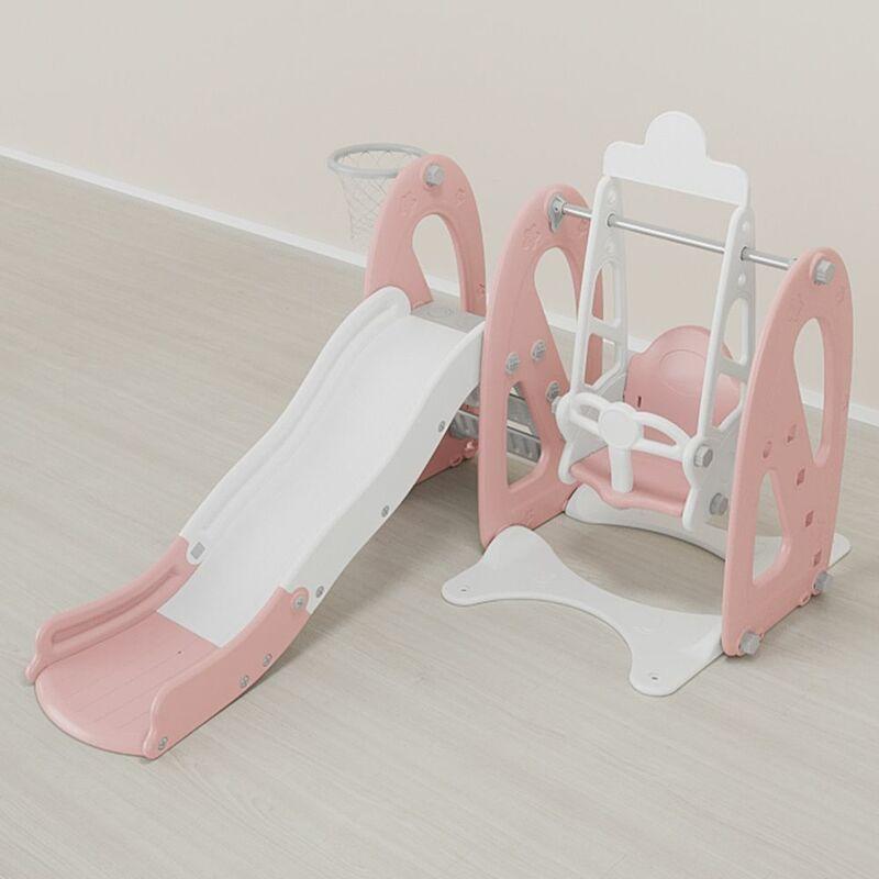 4in1 Toboggan avec Petit Balan?oire pour enfant Parc Jouet pour Enfant 2-8 Ans 190x150x125cm Rose - INSMA