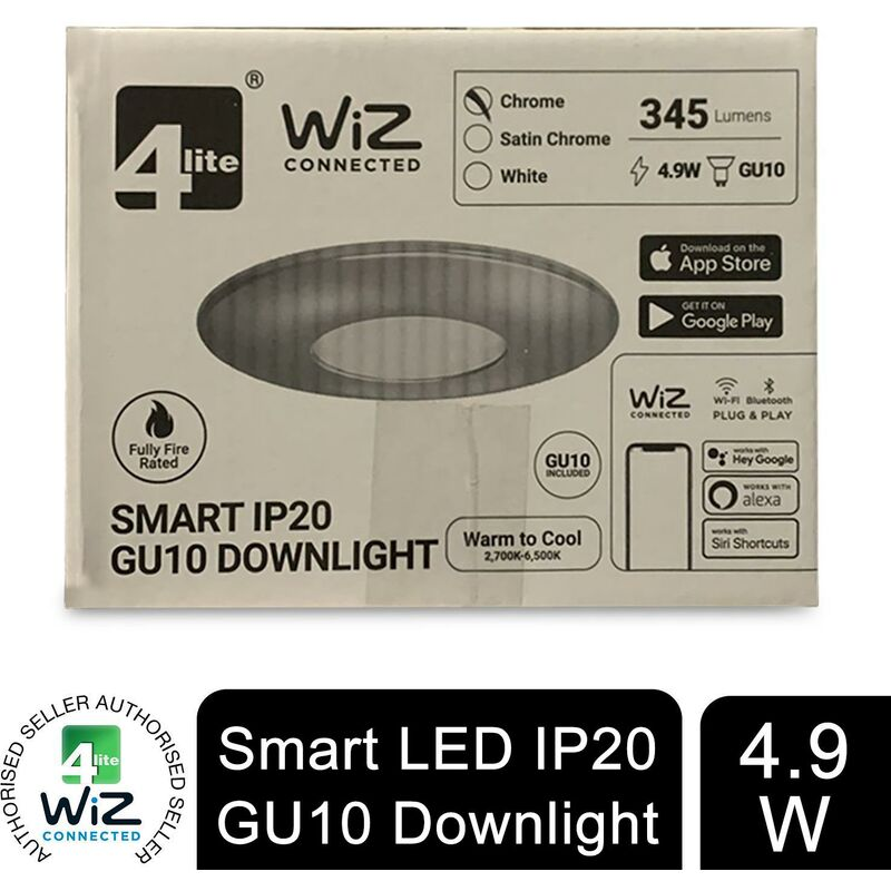 Image of WiZ Connected GU10 Smart LED Bulb with Chrome Fire Rated Downlight IP20 - 4lite