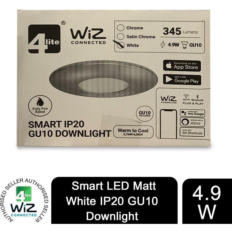 Image of WiZ Connected GU10 Smart LED Bulb with Matt White FireRated Downlight IP20 - 4lite