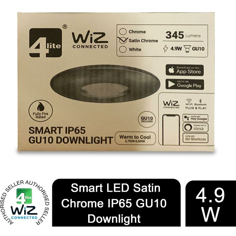 Image of 4lite WiZ Connected GU10 Smart LED White Bulb with Satin Chrome Downlight IP65