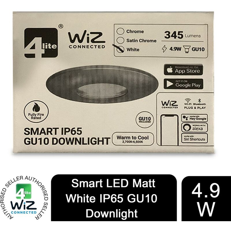 Image of WiZ Connected GU10 Smart LED Bulb with Matt White FireRated Downlight IP65 - 4lite