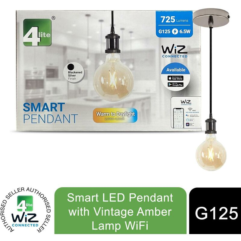 Image of WiZ Connected G125 Amber Vintage White WiFi LED Smart Bulb with Pendant - 4lite
