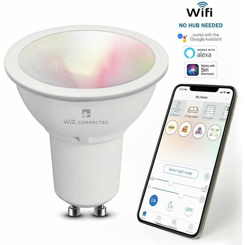 Image of WiZ Connected GU10 Colours and Whites Smart Bulb WiFi, 1 Pack - 4lite