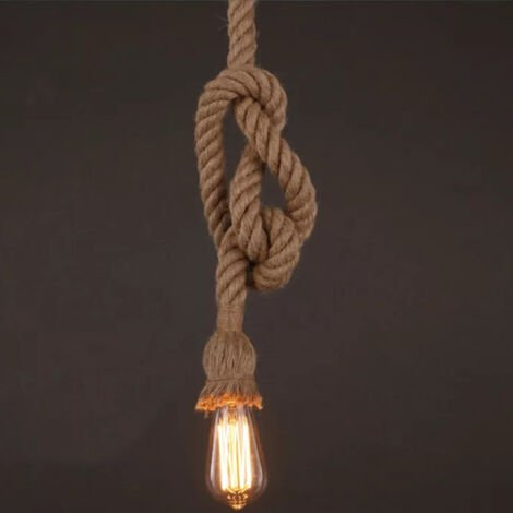 4M E27 Hemp Rope 1 Head Vintage Hanging Pendant Ceiling Light Lamp Industrial Retro Country Style Dining Hall Restaurant Bar Cafe Lighting