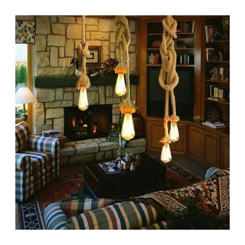 4M Suspension Vintage en Corde Chanvre 200cm DIY Double douille E27 Luminaire Rétro Lampe pour Restaurant Bar Cafe Lighting