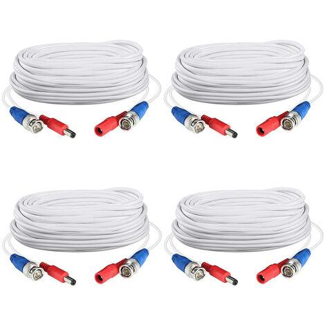 4pack blanca de 60 pies /18.3M 2-en-1 cable de alimentacion del enchufe del cable de extension video bnc Cctv para el sistema de camaras de vigilancia de la seguridad casera DVR, blanca